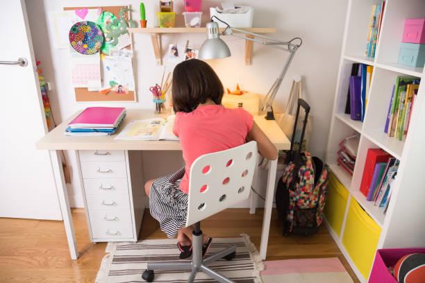 Young girl doing homework stock photo