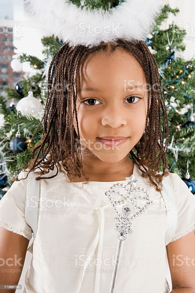 Young girl dressed as an angel royalty-free stock photo