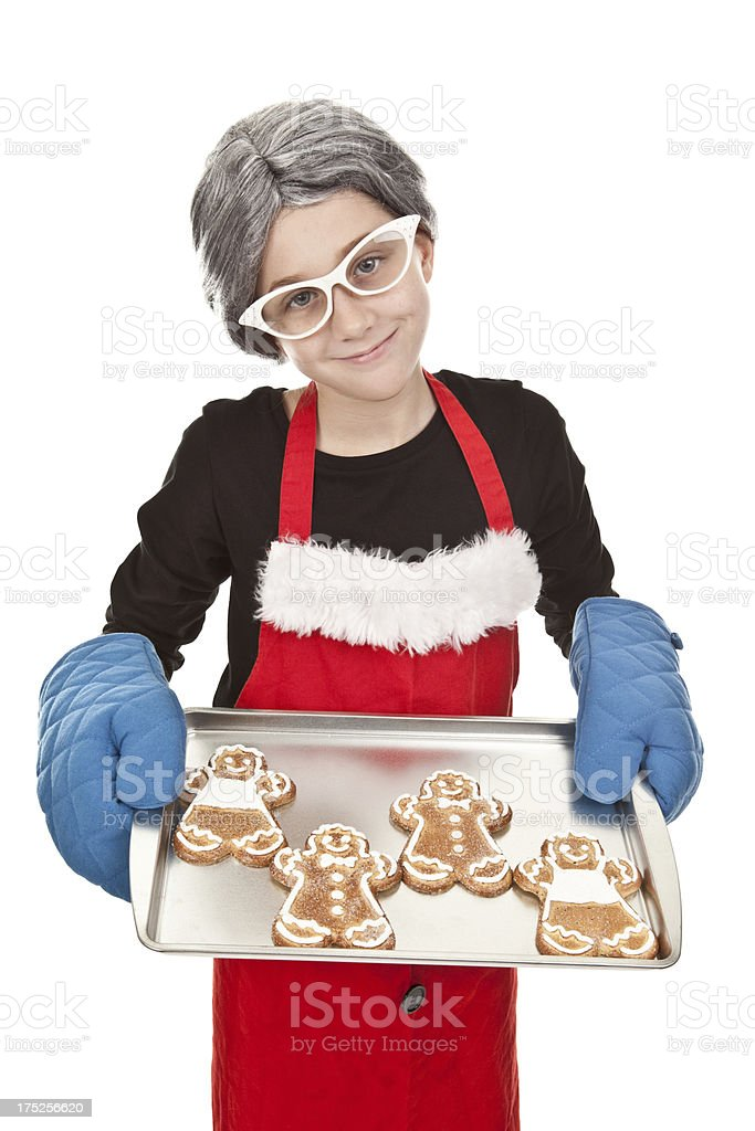 Young Girl Dressed as Mrs. Claus royalty-free stock photo