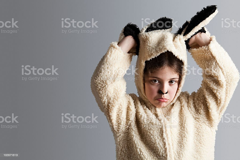 Young girl dressed up as sheep royalty-free stock photo