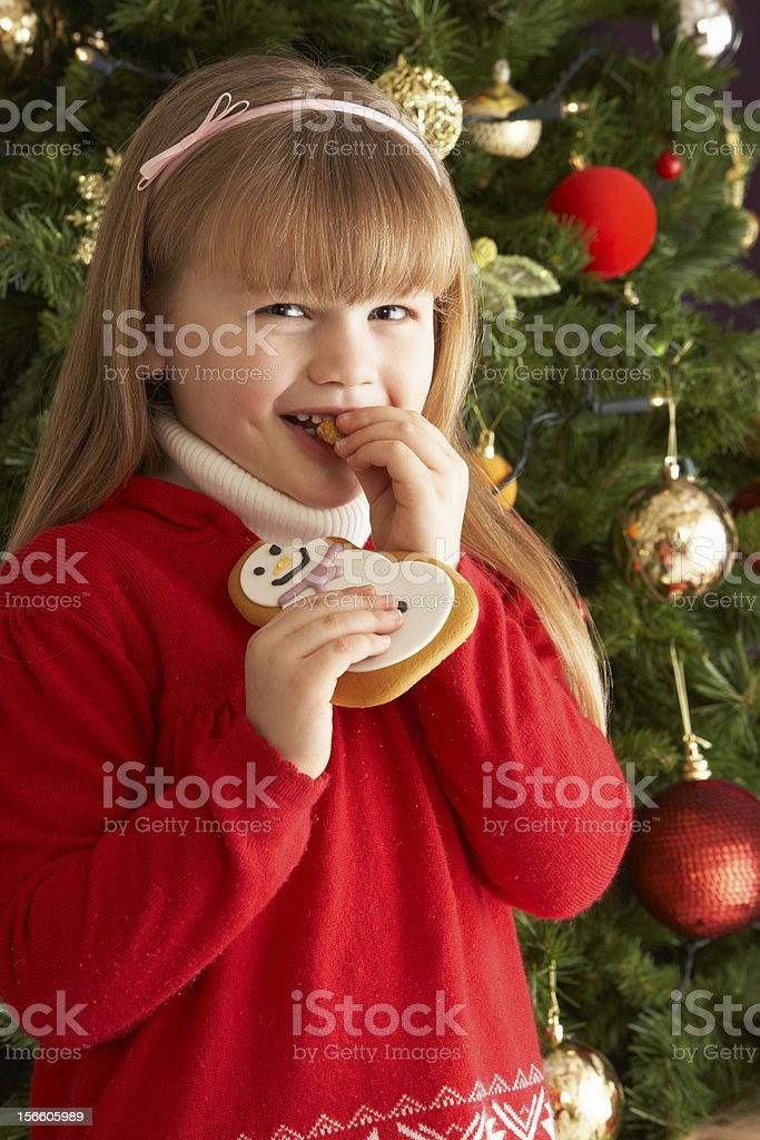 Young Girl Eating Cookie In Front Of Christmas Tree royalty-free stock photo