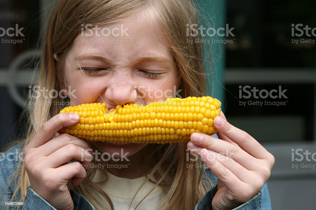 A young girl eating corn on the cob royalty-free stock photo