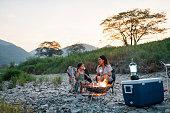 キャンプファイヤーの周りに夜に外でローストマシュマロを食べる若い女の子