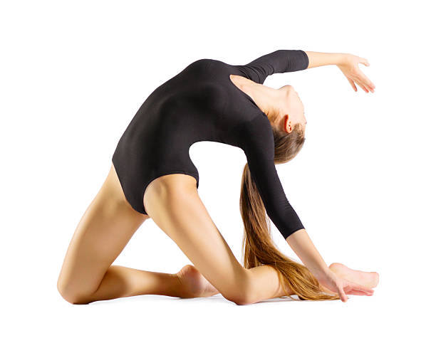 young girl engaged art gymnastic - leotard stock photos and pictures