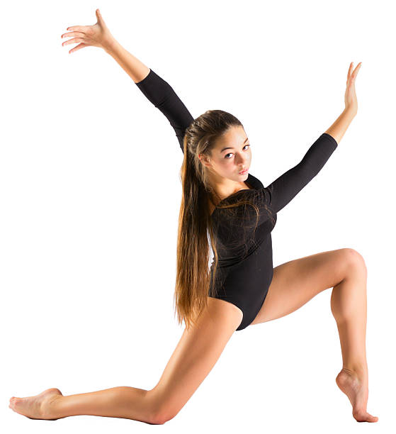 young girl engaged arts gymnastic - leotard stock photos and pictures