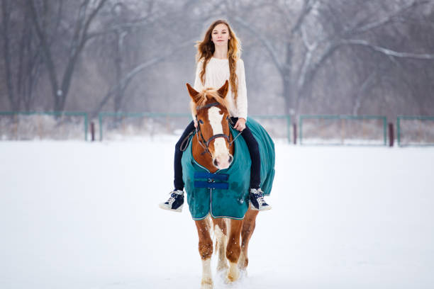 Young girl enjoying horseback riding in winter Young girl enjoying horseback riding in winter park sergionicr stock pictures, royalty-free photos & images