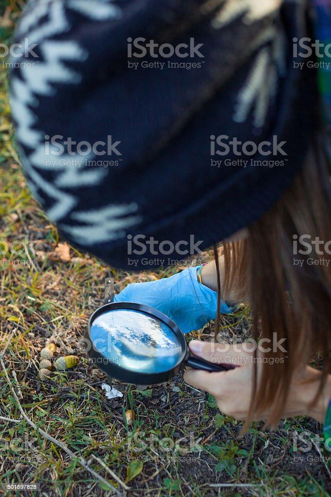 Young girl explorer stock photo