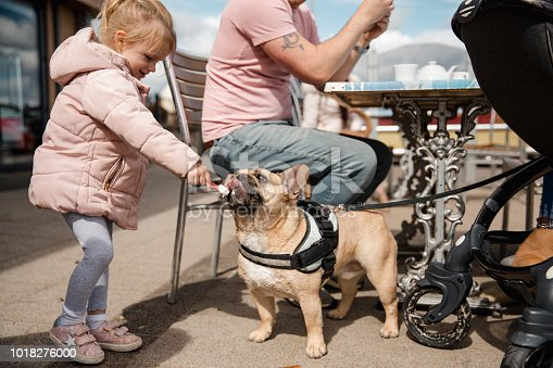 A young girl feeds the family dog her ice cream while her parents aren't looking.