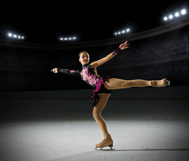 Young girl figure skater stock photo