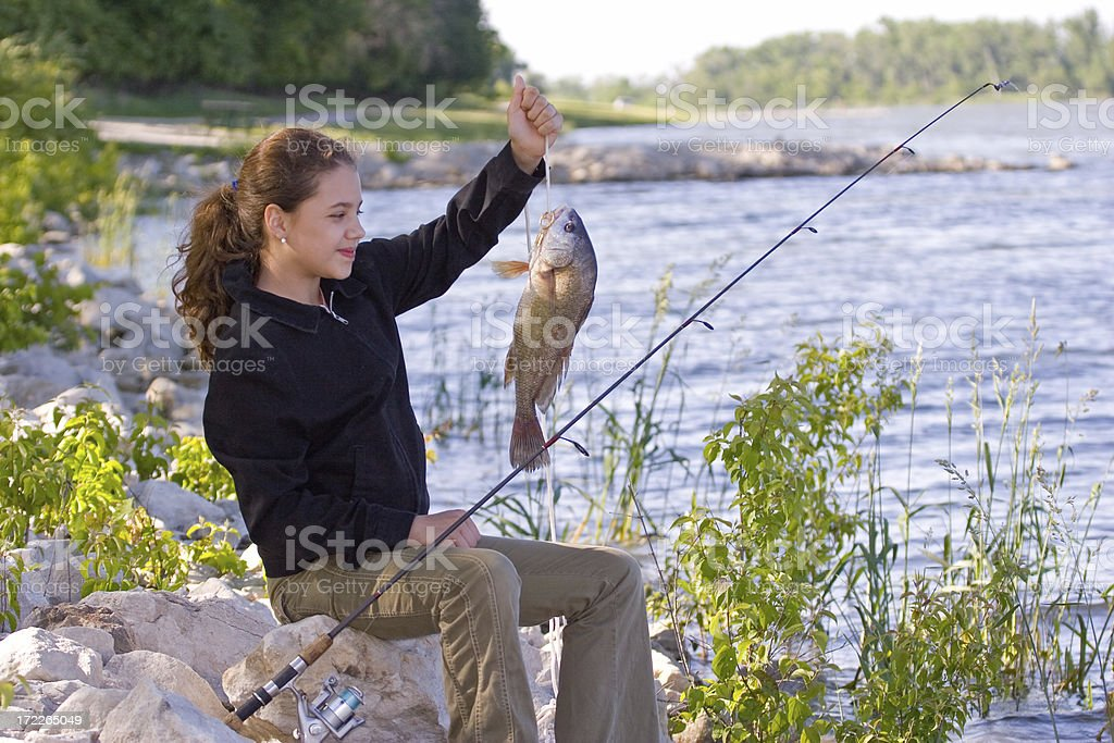Young Girl Fishing stock photo