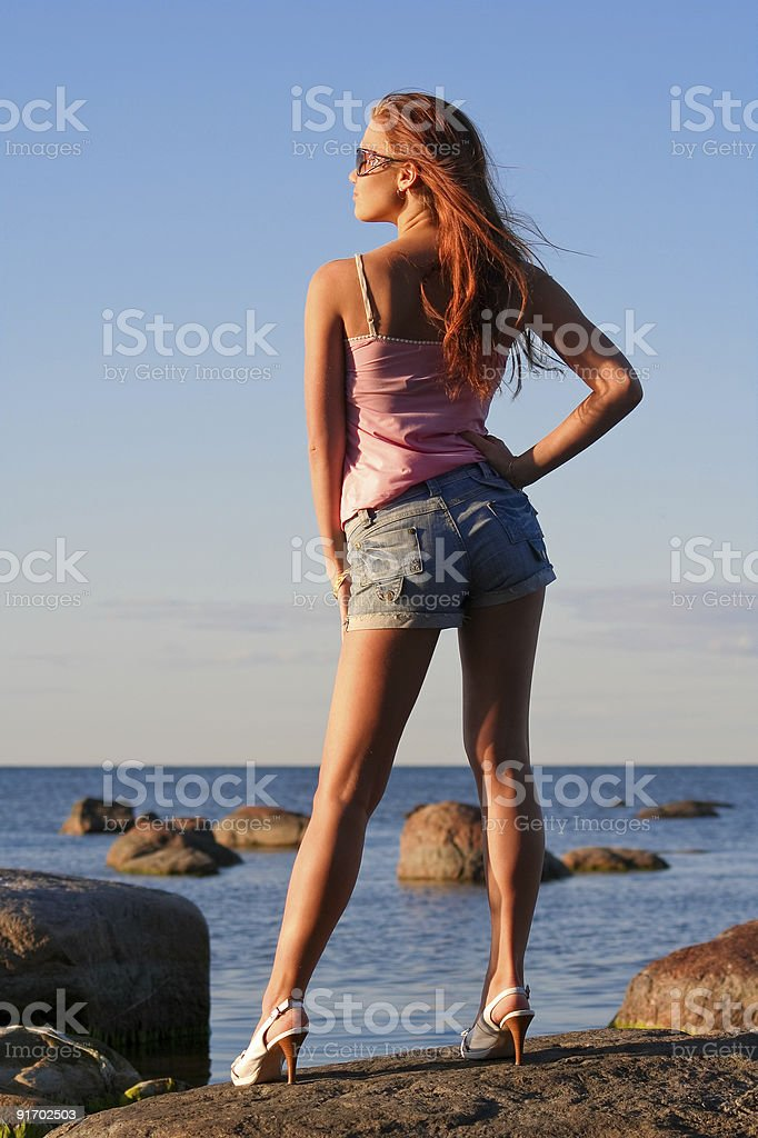 Young girl from back stock photo