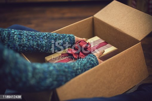 Young beautiful girl accepting and opening parcel with present box on Christmas