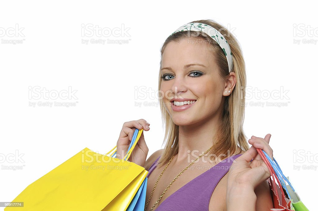 Young girl going shopping royalty-free stock photo