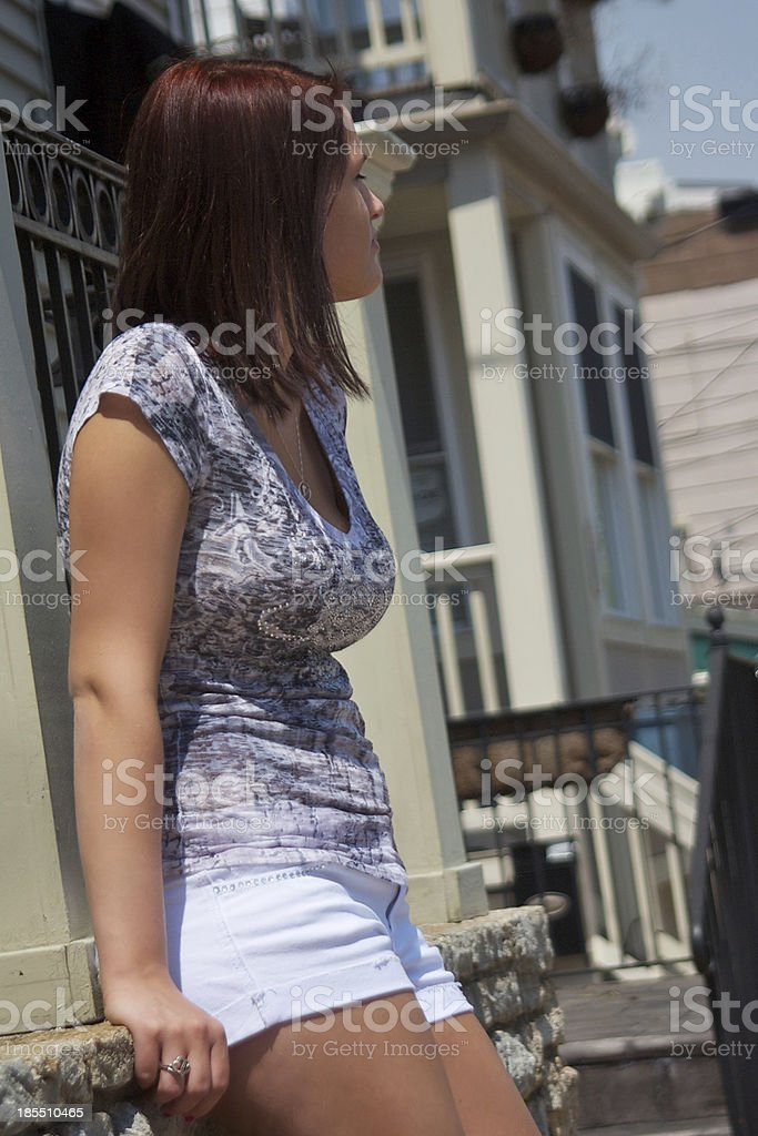 Young girl hanging out in the city royalty-free stock photo