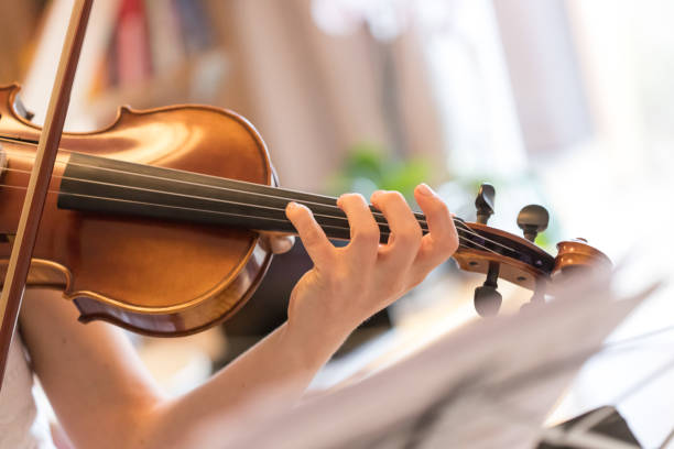 young girl happily plays on her violin - practicing stock pictures, royalty-free photos & images