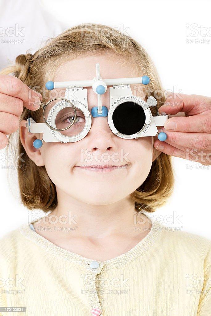 Young Girl Having Her Eyesight Checked. stock photo