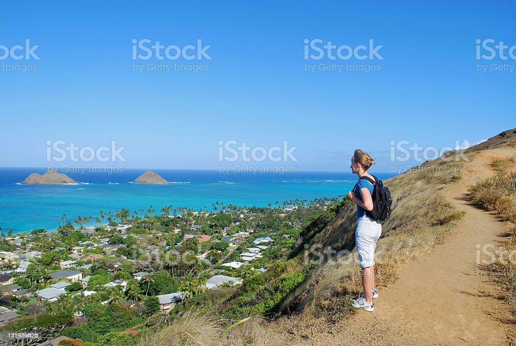 Young girl hiking in Oahu, Hawaii royalty-free stock photo