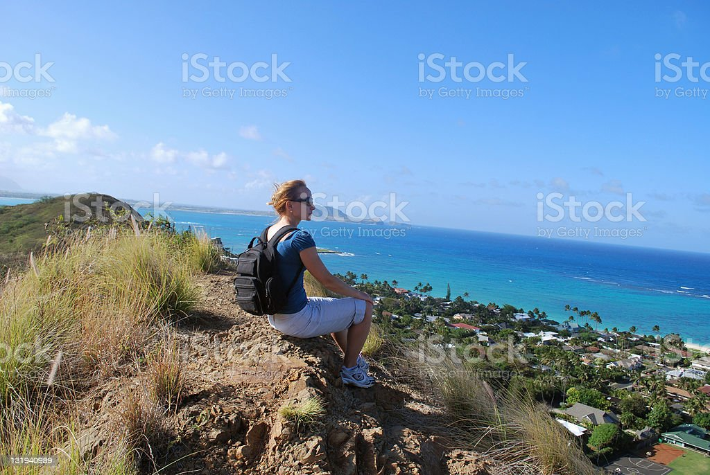 Young girl hiking in Oahu, Hawaii royalty-free stock photo