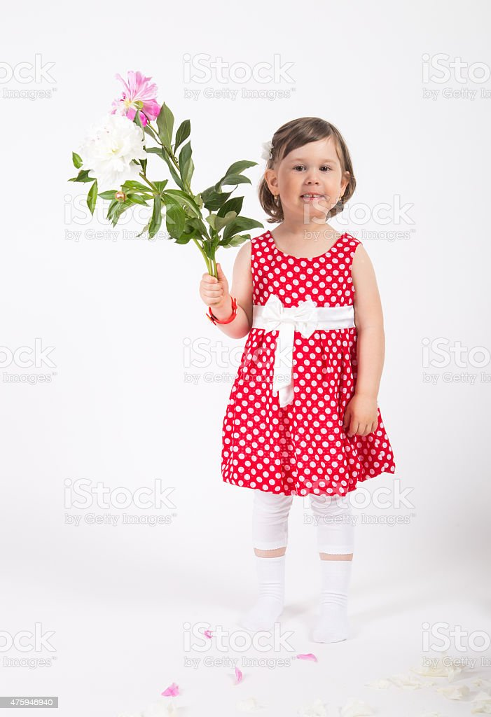 Young girl hold a white and pink rose in hand stock photo