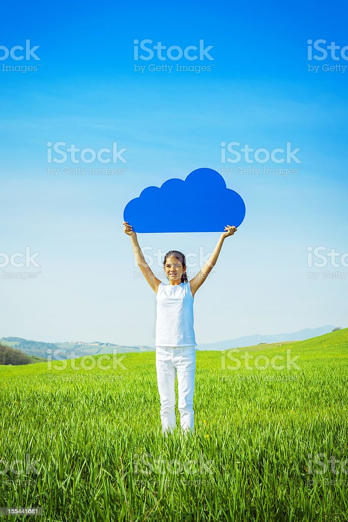Young girl holding a blue cloud royalty-free stock photo