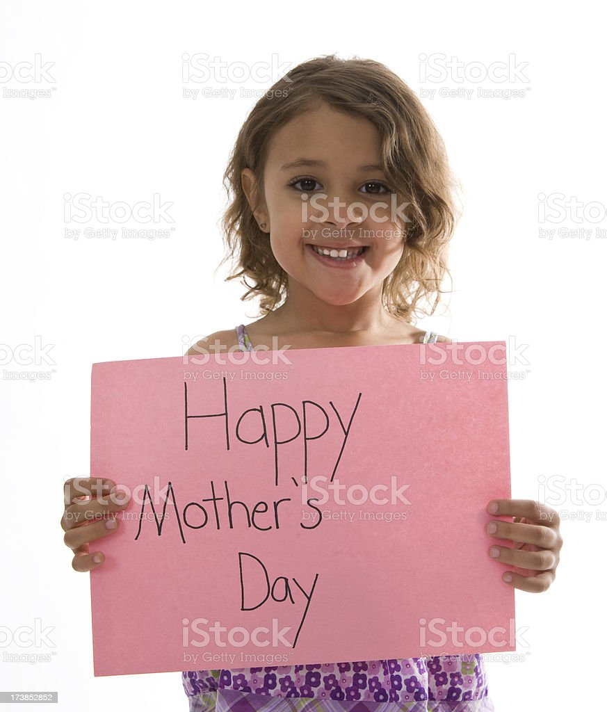 Young Girl Holds Happy Mother's Day Sign royalty-free stock photo