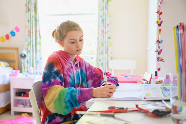 Young girl homeschooling during lockdown stock photo