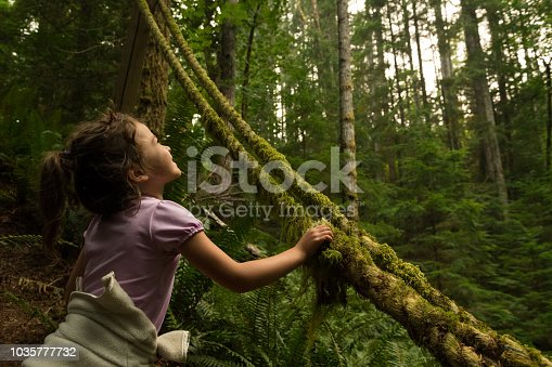 Girl touching moss in a lush forest