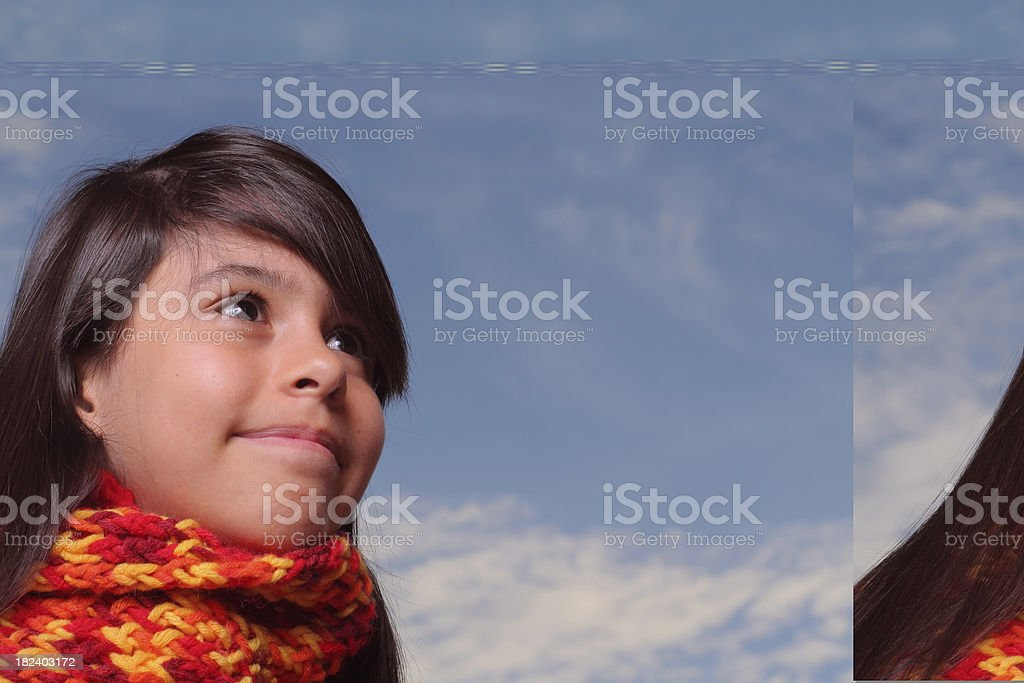 Young girl in a cool weather day stock photo