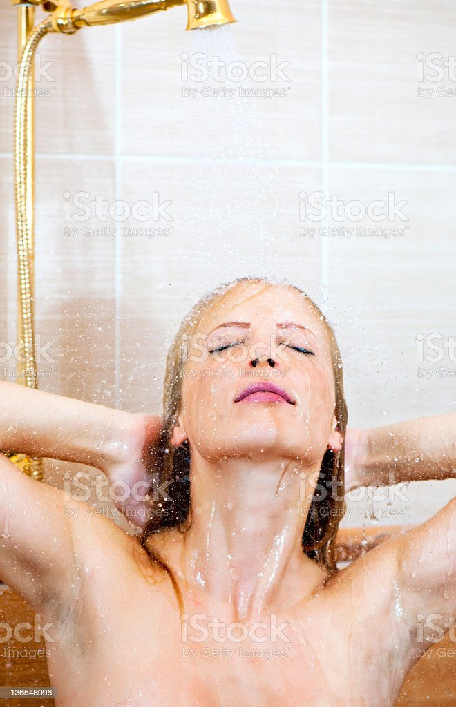 young girl in a shower royalty-free stock photo