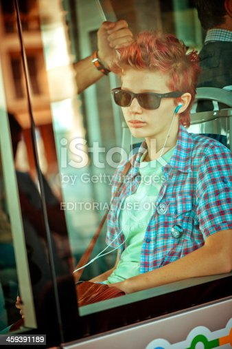 istock Young girl in autobus 459391189