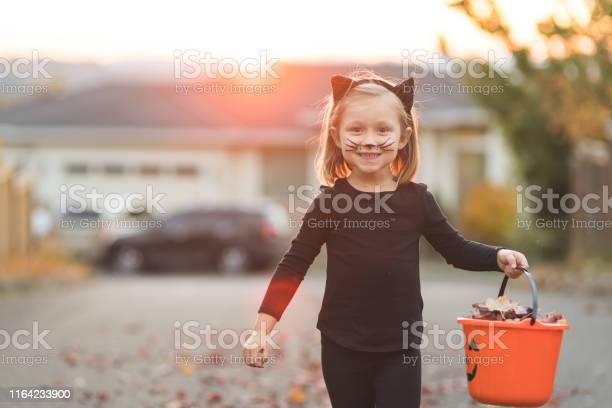 Young girl in black cat costume goes trick or treating picture id1164233900?b=1&k=6&m=1164233900&s=612x612&h=hvrkx1tzghbvohhetlia33y8gz9lgm ziz1sm5pa oy=
