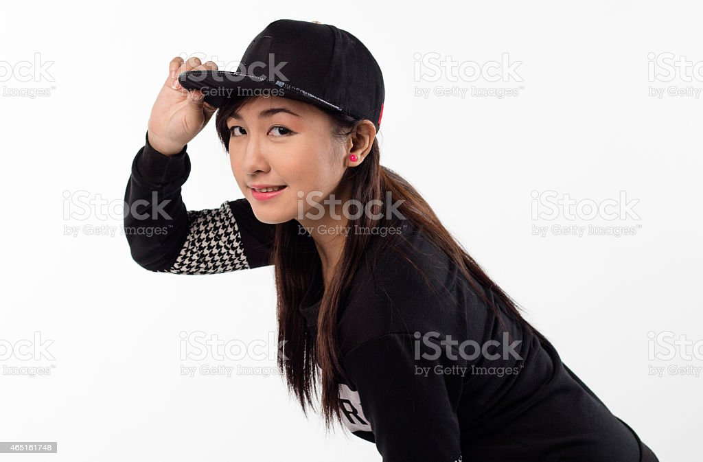 young girl in black, posing stock photo