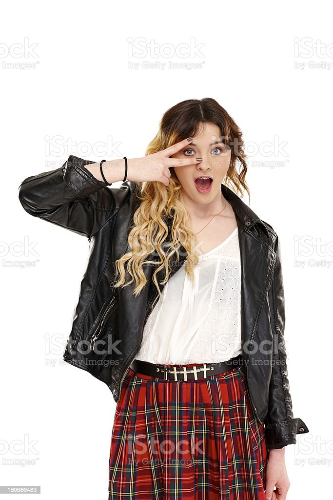 Young girl in casual wear with prefect eyesight royalty-free stock photo