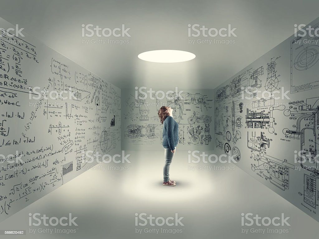 Young girl in center of a room stock photo
