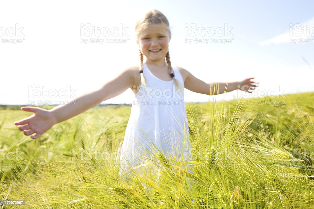 Young girl in corn field royalty-free stock photo