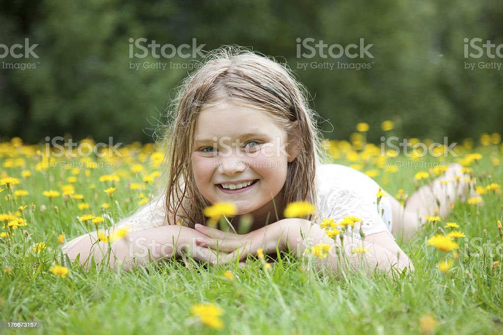 Young Girl In Field Of Flowers royalty-free stock photo