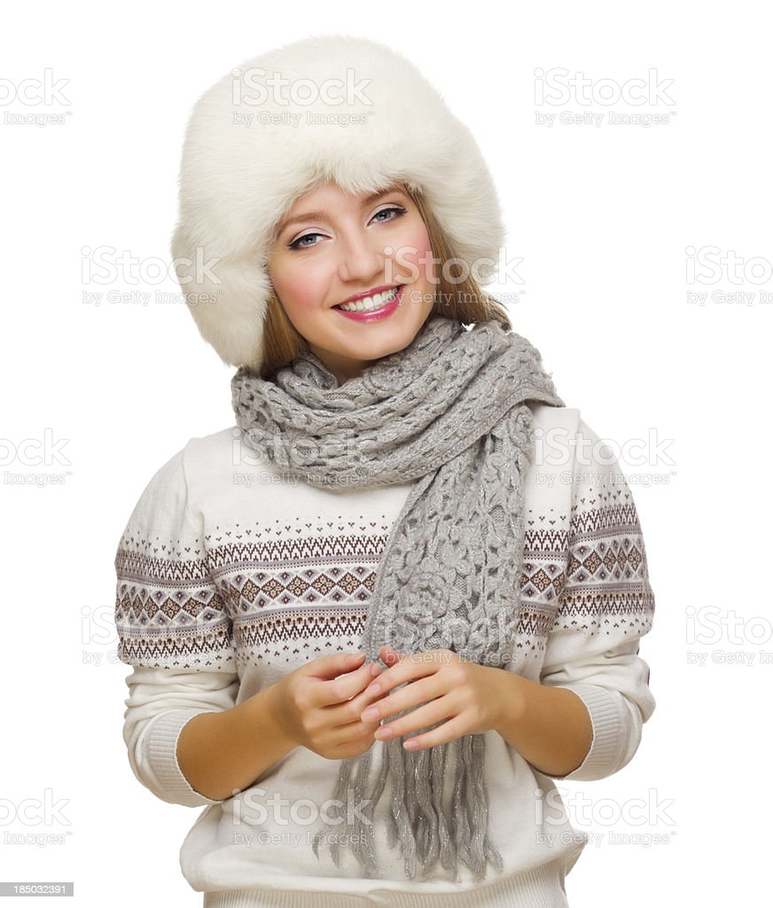 Young girl in fur hat royalty-free stock photo