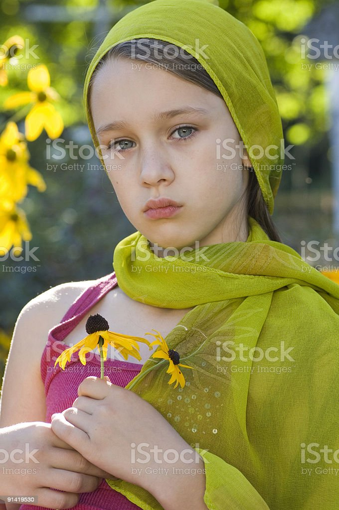 Young girl in garden royalty-free stock photo