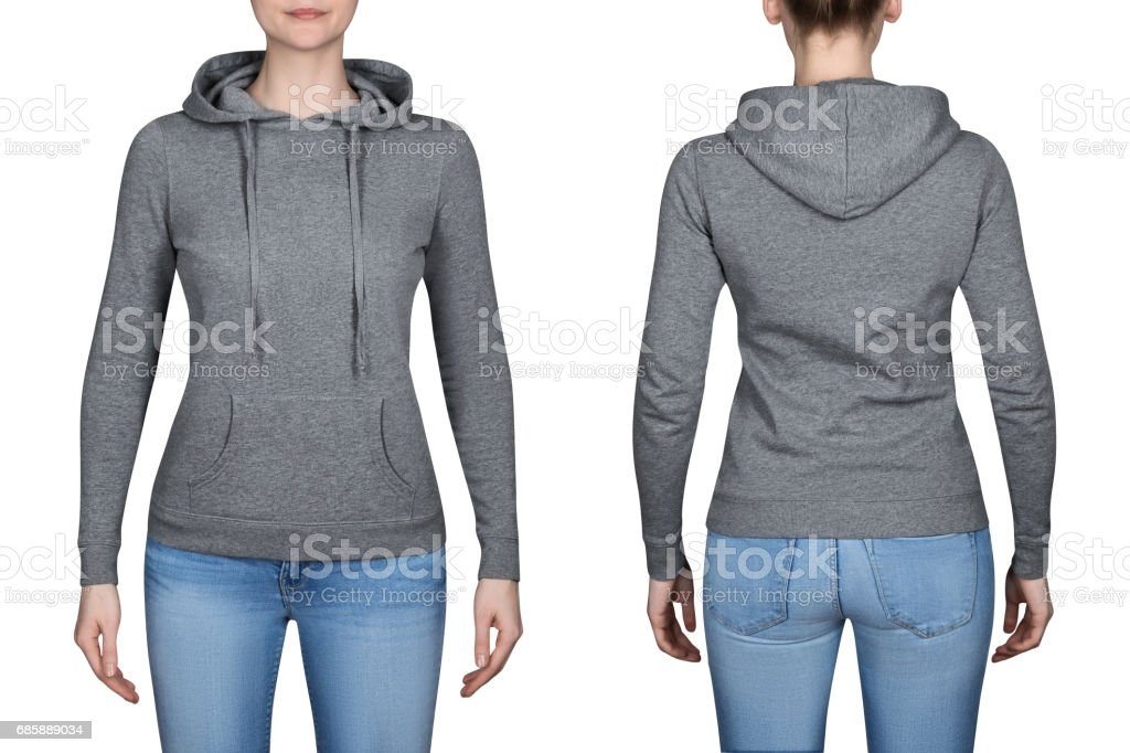 476f06b2ec01f jeune fille en Sweat-shirt gris, Sweats à capuche. fond blanc photo libre