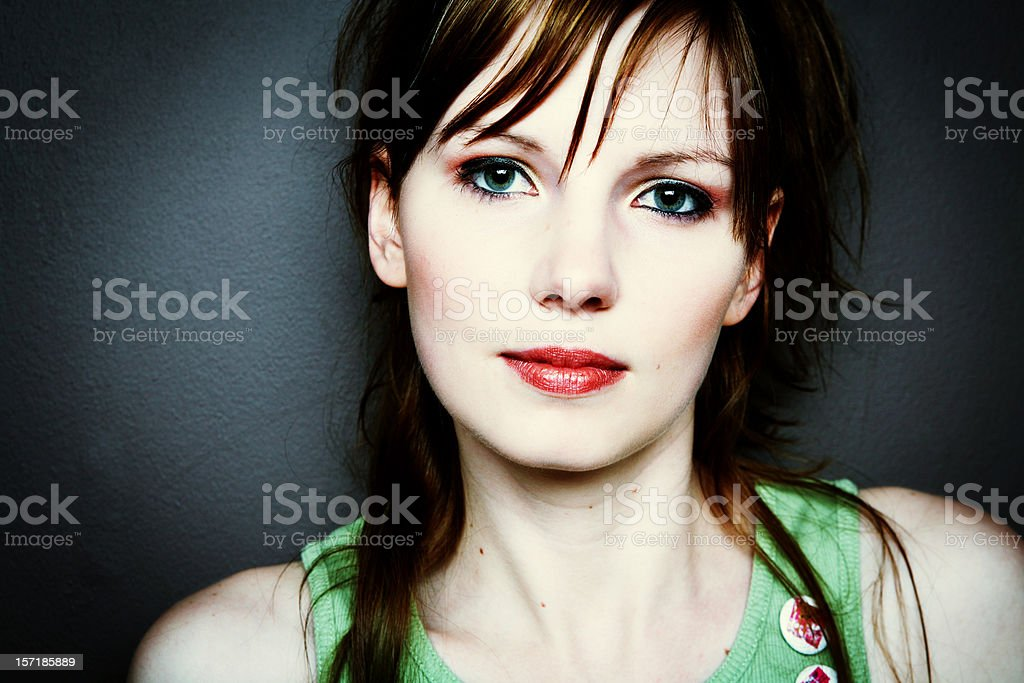 Young Girl in Green Shirt and Red Lipstick royalty-free stock photo