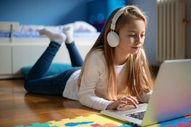 Young Girl in Her Room Relaxing stock photo
