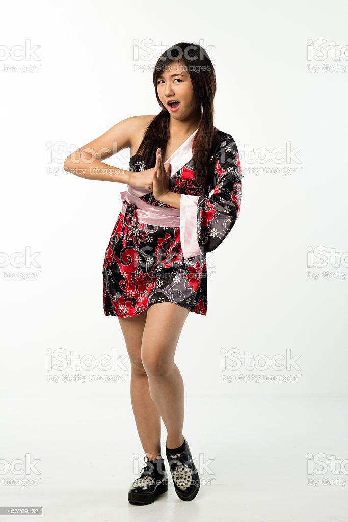 young girl in kimono, posing stock photo