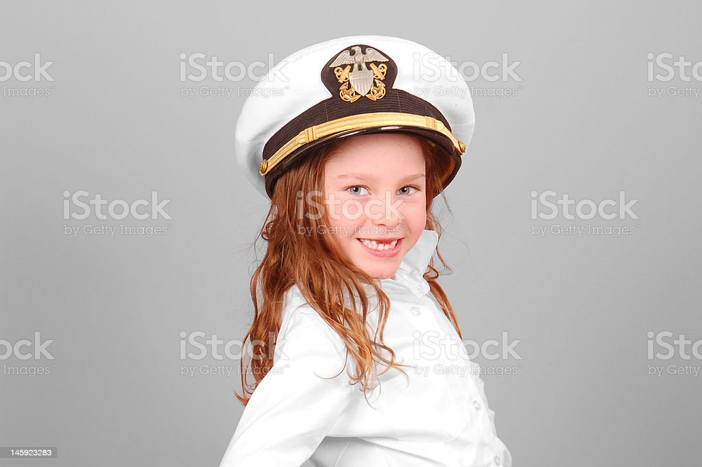 Young Girl in Sailor Hat stock photo