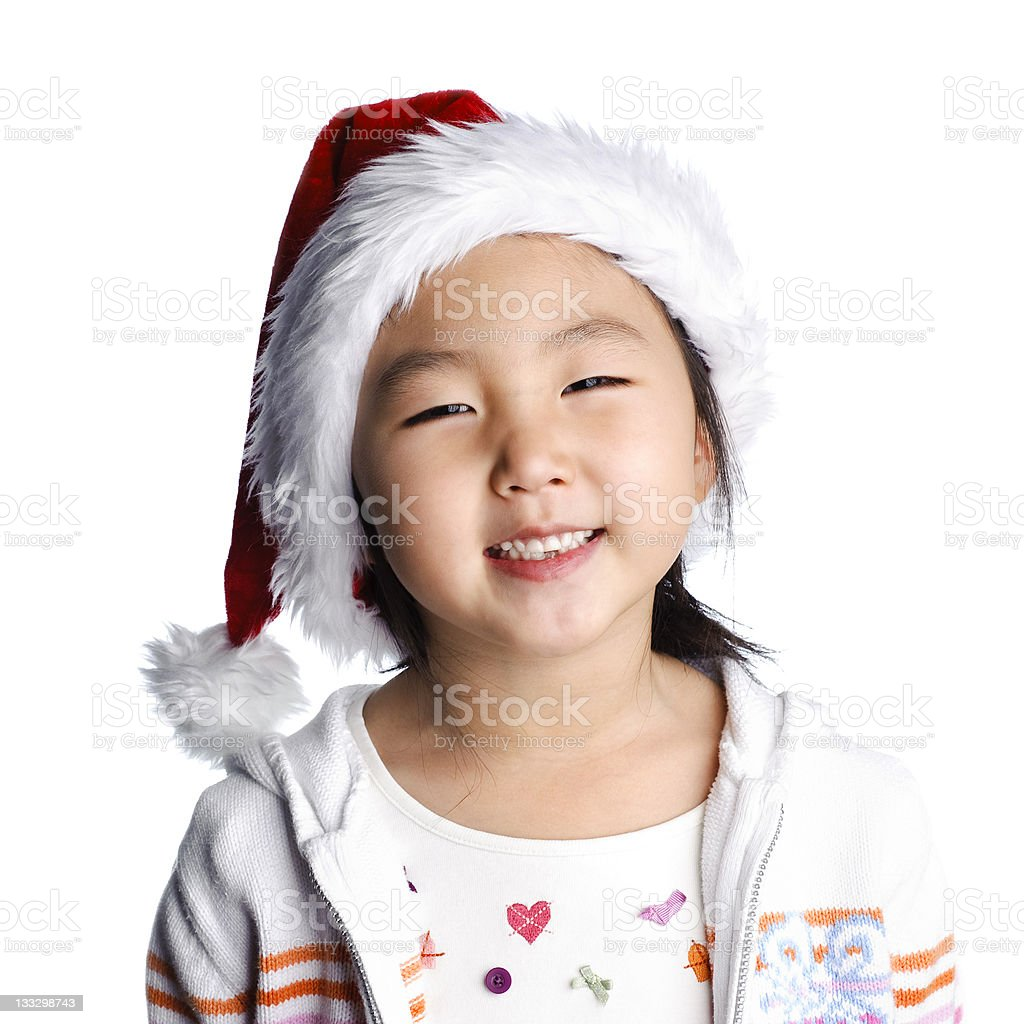 Young girl in Santa hat royalty-free stock photo