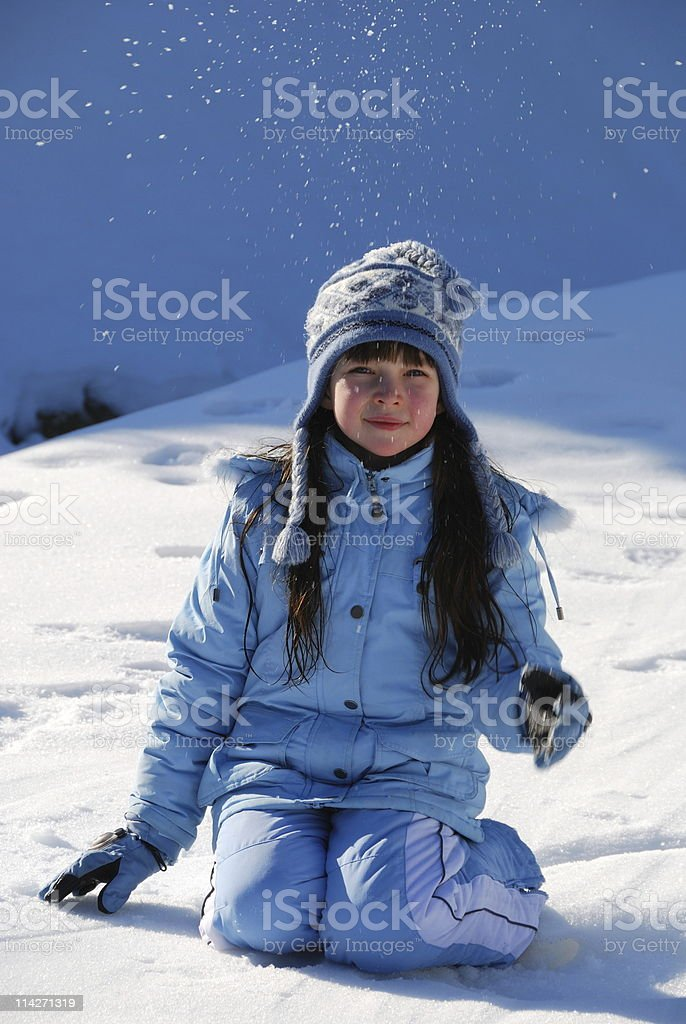 Young girl in snow royalty-free stock photo