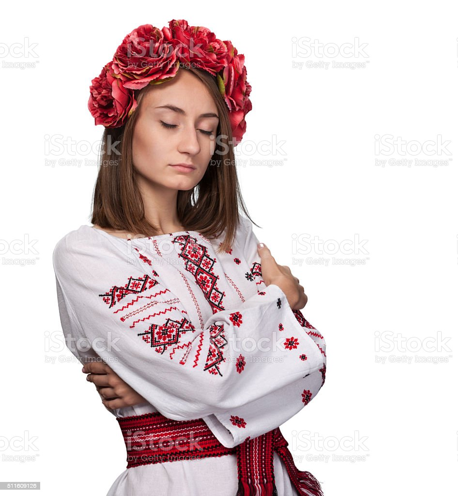 young girl in the Ukrainian national suit stock photo