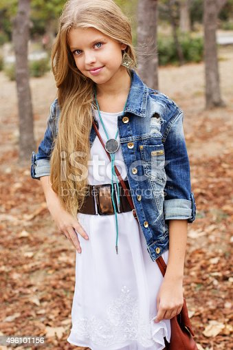 istock Young girl is swearing casual dress 496101156