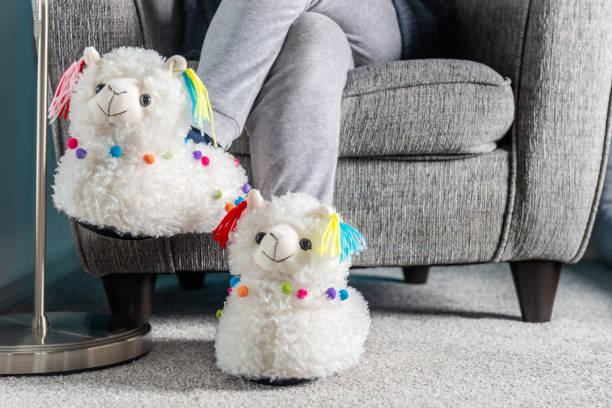 Young girl is wearing cute soft 3d llama slippers Young girl is wearing cute soft 3d llama slippers, while reading on the grey armchair fluffy stock pictures, royalty-free photos & images