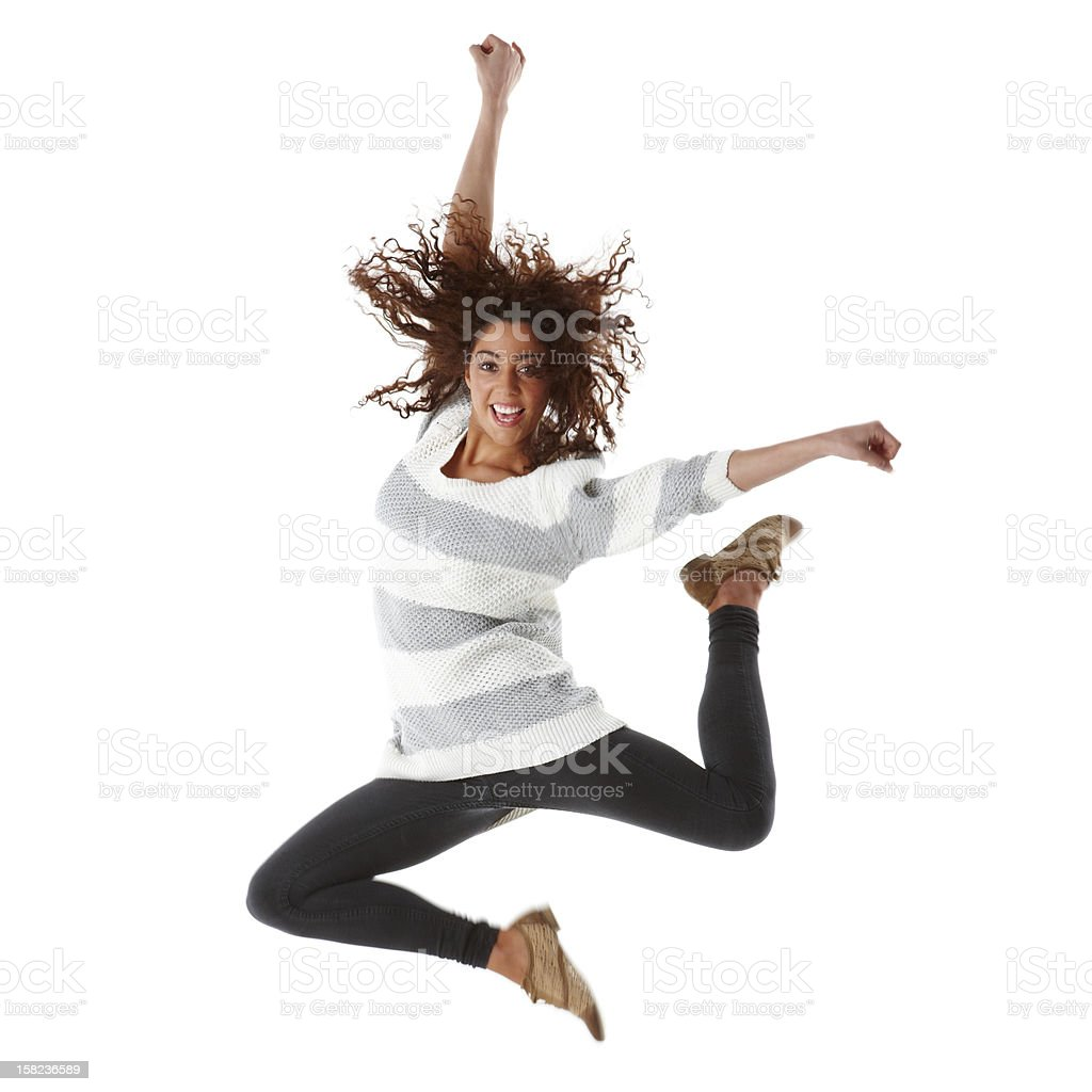 Young girl jumping in air. royalty-free stock photo