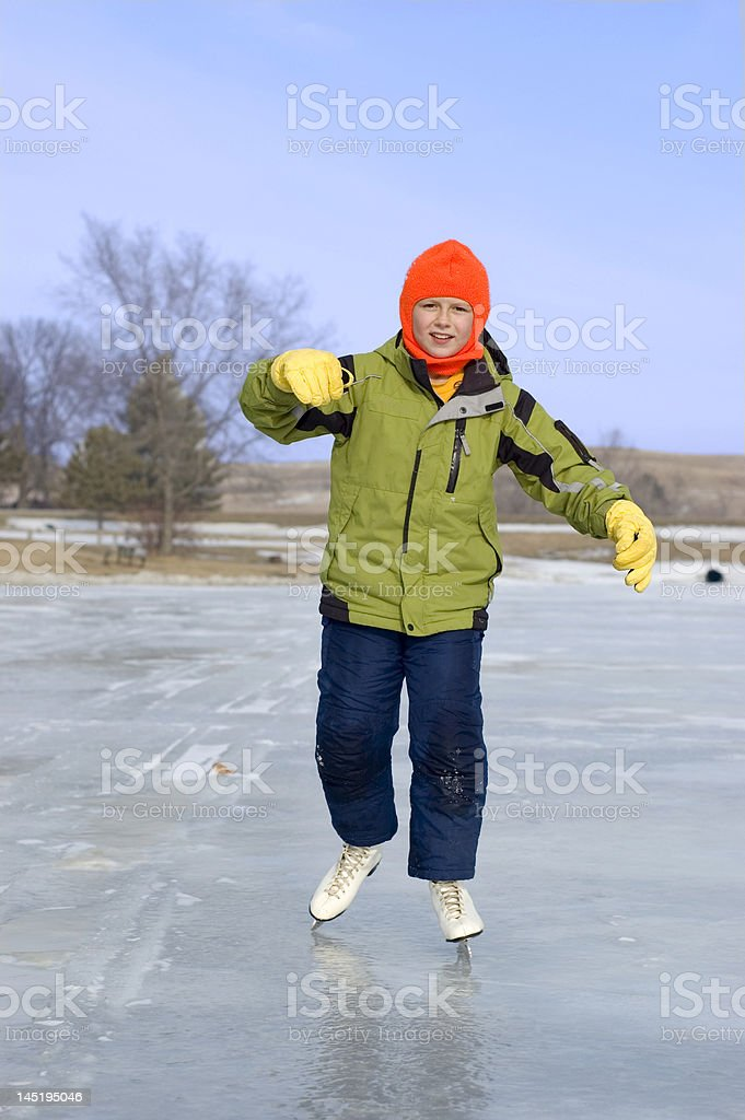 Young Girl Learning to Ice Skate royalty-free stock photo